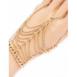 European Layered Tassel Trim Ring Design Bracelet in Gold