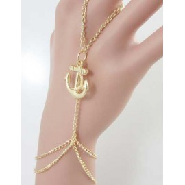 Modern Anchor Shape Metallic Chain Gold Bracelet