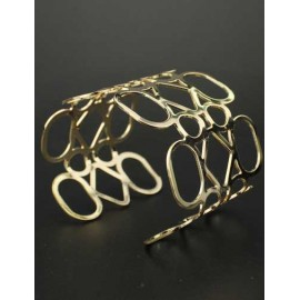 Cutwork Metallic Broad Size Cuff Bracelet in Gold
