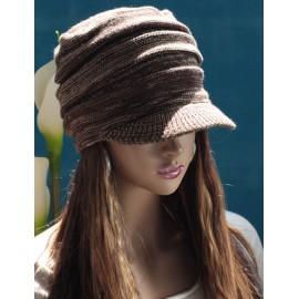 Stylish Brim Design Elastic Newsboy Cap in Assorted Color For Women