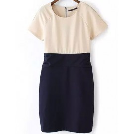 European High-Rise Raglan Sleeve Dress in Two Tone