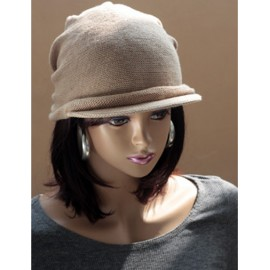 Trendy Pleated Design Knitted Newsboy Cap with Short Brim For Women
