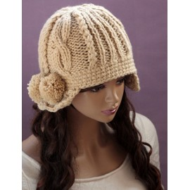 Elegant Fuzzy Bobble Knitted Beanie Hat with Earmuffs Design For Women