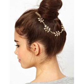 Girlish Leave Design Tuck Comb Trim Hair Clip in Gold