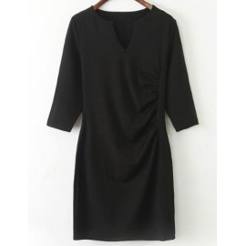 Glam Wrinkle Trim Sleeve Dress with V-Neckline