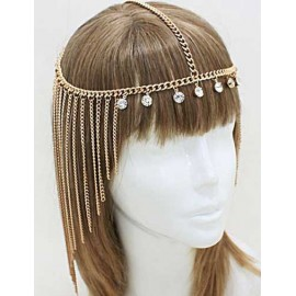 Styling Rhinestone Detail Tassel Trim Hairwrap in Gold