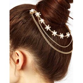 Graceful Rhinestone Detail Tassel Chain Hair Clip in Gold