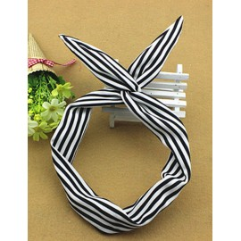 Navy Trendy Stripe Printed Two Tone Hair Band with Rabbit Earring
