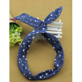 Preppy Star Printed Tow Tone Hair Band with Twist Rabbit