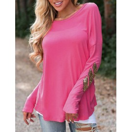 Simple Sequin Trim Long Sleeve Tee with Round Neck