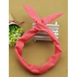 Korean Twist Rabbit Earring Hair Band in Watermelon