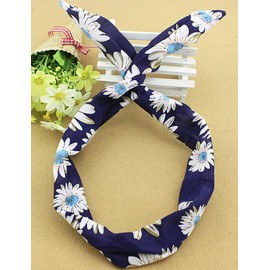 Korean Twist Rabbit Earring Hair Band in Dark Blue