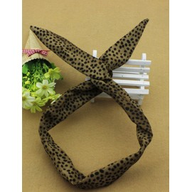 Sylish Leopard Printed Twist Rabbit Earring Hair Band in Brown