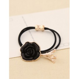 Korean Rose Emebllished Eiffel Fringe Hair Tie