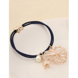 Korean Hollow-Out Heart Shape Beads Trim Hair Tie
