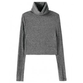 Basic Turtleneck Crop Sweater in Slim Fit Size:S-L