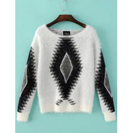 Dazzling Geometric Jacquard Boat Neck Sweater in Fur Size:S-M