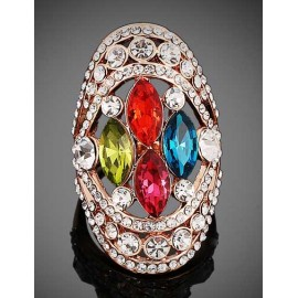 Luxury Colorful Gem Inset Bling Rhinestone Detail Ring