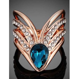 Faddish Heart Shape Hollow-Out Gem Ornament Ring with Plating