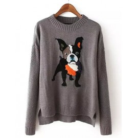 Smart Round Neck Puppy Sweater in Asymmetric Hem Size:S-L