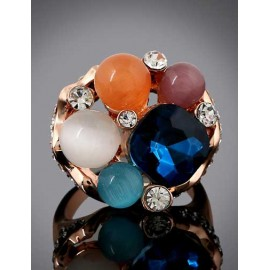 Fabulous Colorful Gem Ornament Floral Cutwork Ring