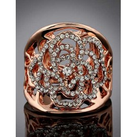 Luminous Rhinestone Detail Hollow-Out Floral Openwork Ring in Gold