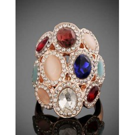 Enchanting Colorful Gem Ornament Ring with Crown Shape