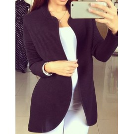 Casual Stand Collar Stripe Pattern Cardigan in Pure Color Size:S-XL