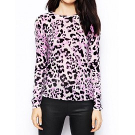 Classic Leopard Printed Crew Neck Sweater in Light Purple Size:S-XL