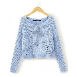 Seductive Scoop Neck Long Sleeve Sweater in Pure Color Size:S-M