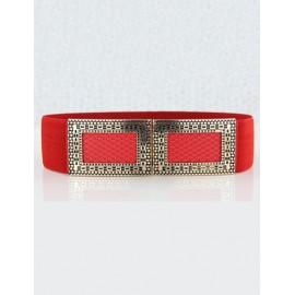Korean Fashion Stretchy Waist Belt with Double Loop Buckle For Women