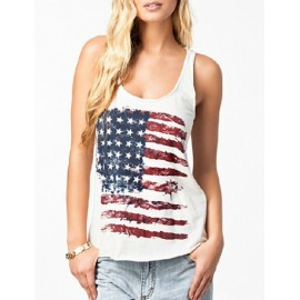 USA Flag Print Loose Tank Top with Scoop Neck