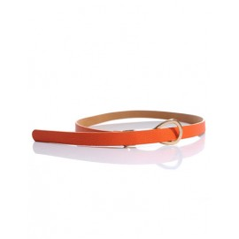 Stylish Candy Color Slender Belt with Knot Buckle For Women