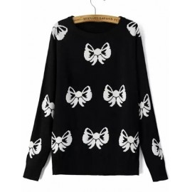 Preppy Bowknot Round Neck Sweater with Long Sleeve Size:S-L