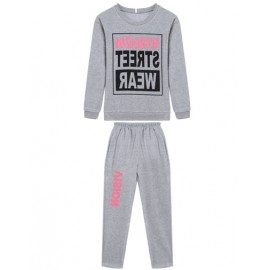 Athletic Color Panel Letter Printed Sweatshirt and Sweatpants