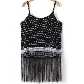 Tribal Print Spaghetti Crop Top with Tassel Hem
