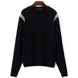 Fashionable Stripe Sleeve Round Neck Sweater Size:S-L