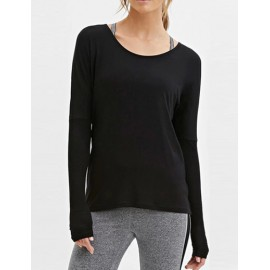 Seductive Round Neck Long Sleeve Tee with T Shape Back