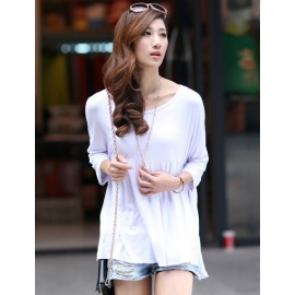 Laconic Pure Color Pleated T-Shirt with Batwing Sleeve