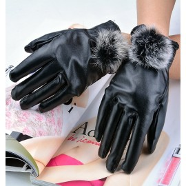 New Fur Faux Rabbit Fashion Short Design Women's Synthetic Leather Finger Gloves Winter Thickening Gloves Wedding Wear