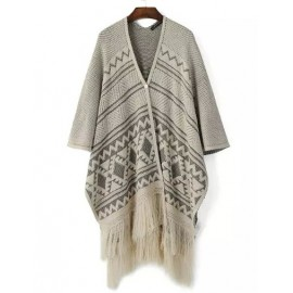 Chic Asymmetrical Tassel Jacquard Poncho with Single Button Size:S-M