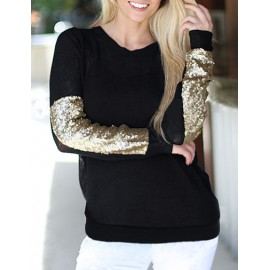 Glitter Sequin Trim Long Sleeve Black Tee with Crew Neck