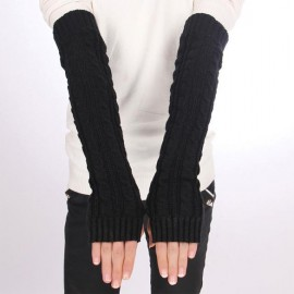 Women's Long Gloves Arm Warmers Hand Knitted Half Warmer Glove For Women Lady Girlls Hot!!