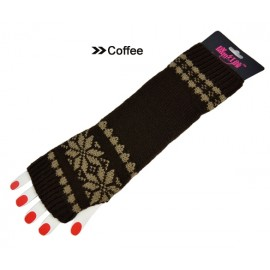 New Fashion Girls Women's Snow Pattern Braided Knit Fingerless Arm Long Gloves