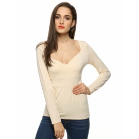 Finejo Women Fashion Sexy Lady Long Sleeve V Neck Casual Slim Top Blouse Shirt