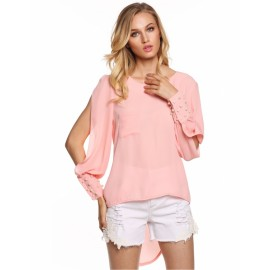 Fashion Women Chiffon O-Neck Long Sleeve Asymmetrical Hem Beads Blouse Tops