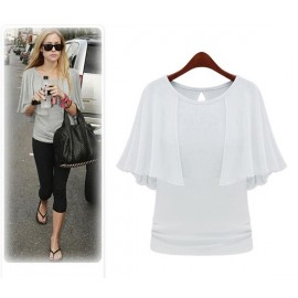 Fashion Women O-Neck Solid Cape Cloak Style Blouse Tops Casual Wear