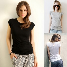 Fashion Women Casual O-Neck Short Sleeve Back Splice Solid Slim T-Shirt Tops