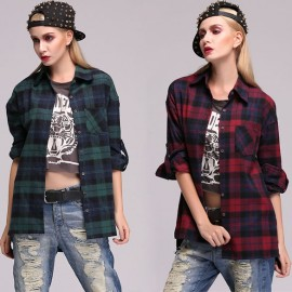 Stylish Women Lady's Geometric Casual Loose Long Shirt Blouse Tops High Quality Women Blouse