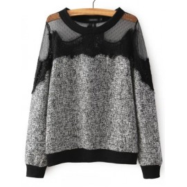 Sweet Mesh Panel Eyelash Trim Sweater in Two Tone Size:S-L